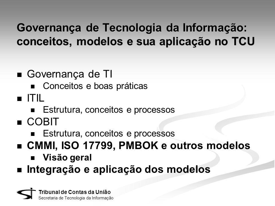 Áreas específicas Cada modelo possui foco em um aspecto específico da governança e gestão de TI Governança de TI Serviços Aplicações Projetos Planejamento Segurança Qualidade ITIL CMMIISO 17799PMBOK COBIT BSC-TI ISO 9000 Contratações eSCM-CL eSCM-SP Gestão de TI