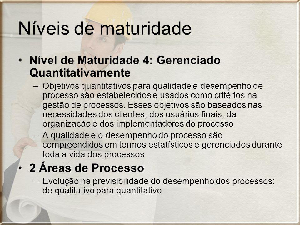 Níveis de maturidade Nível de Maturidade 4: Gerenciado Quantitativamente –Objetivos quantitativos para qualidade e desempenho de processo são estabele