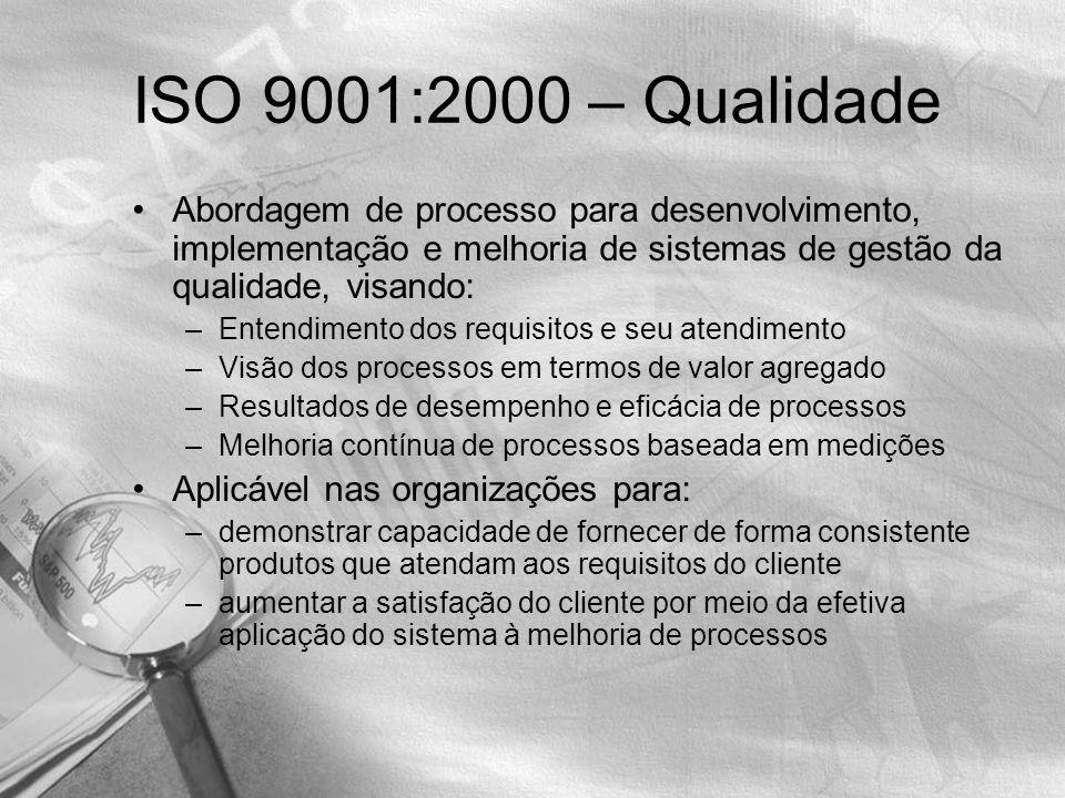 ISO 9001:2000 – Qualidade Abordagem de processo para desenvolvimento, implementação e melhoria de sistemas de gestão da qualidade, visando: –Entendimento dos requisitos e seu atendimento –Visão dos processos em termos de valor agregado –Resultados de desempenho e eficácia de processos –Melhoria contínua de processos baseada em medições Aplicável nas organizações para: –demonstrar capacidade de fornecer de forma consistente produtos que atendam aos requisitos do cliente –aumentar a satisfação do cliente por meio da efetiva aplicação do sistema à melhoria de processos