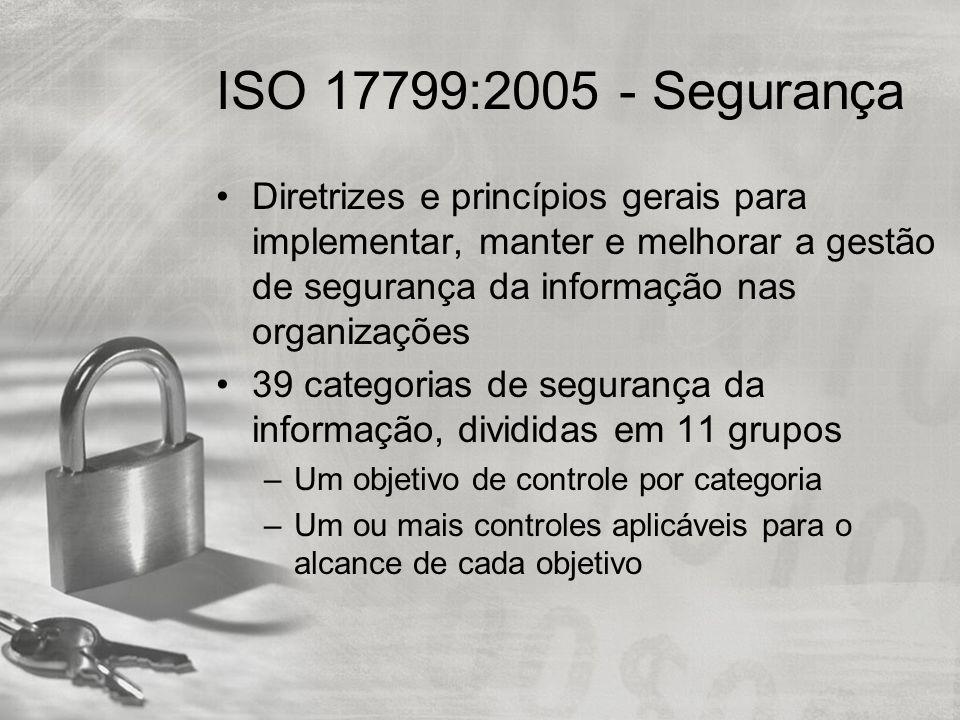 ISO 17799:2005 - Segurança Diretrizes e princípios gerais para implementar, manter e melhorar a gestão de segurança da informação nas organizações 39 categorias de segurança da informação, divididas em 11 grupos –Um objetivo de controle por categoria –Um ou mais controles aplicáveis para o alcance de cada objetivo
