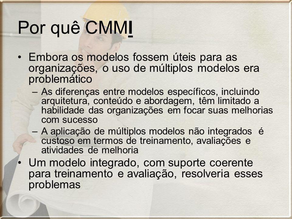Capability Maturity Model Integration Objetivo: –Desenvolver modelos de melhoria de processos mais coerentes e de aplicação facilitada –Integrar modelos específicos (os mais adotados): SW-CMM, EIA/IS 731, IPD-CMM e SA-CMM –Estabelecer a base para o acréscimo posterior de outros modelos/disciplinas Hoje: SW-CMM descontinuado oficialmente –Migração progressiva do mercado para CMMI
