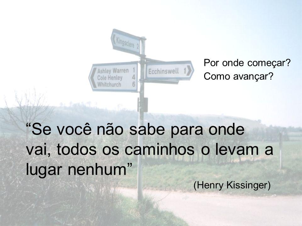 Por onde começar? Como avançar? Se você não sabe para onde vai, todos os caminhos o levam a lugar nenhum (Henry Kissinger)