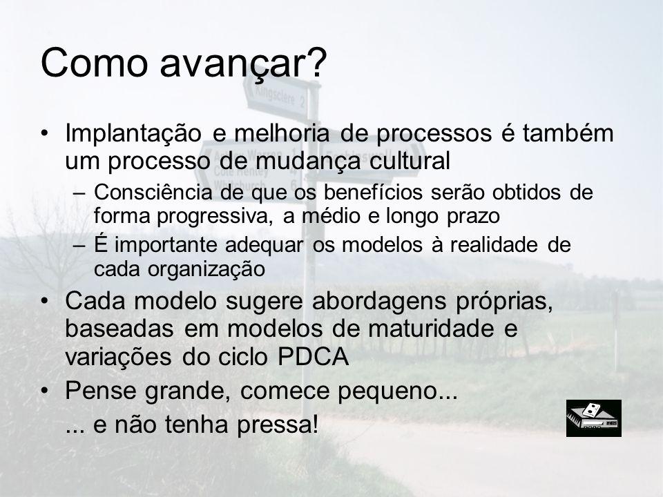 Como avançar? Implantação e melhoria de processos é também um processo de mudança cultural –Consciência de que os benefícios serão obtidos de forma pr