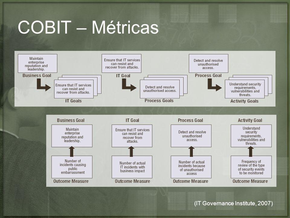 (IT Governance Institute, 2007) COBIT – Métricas