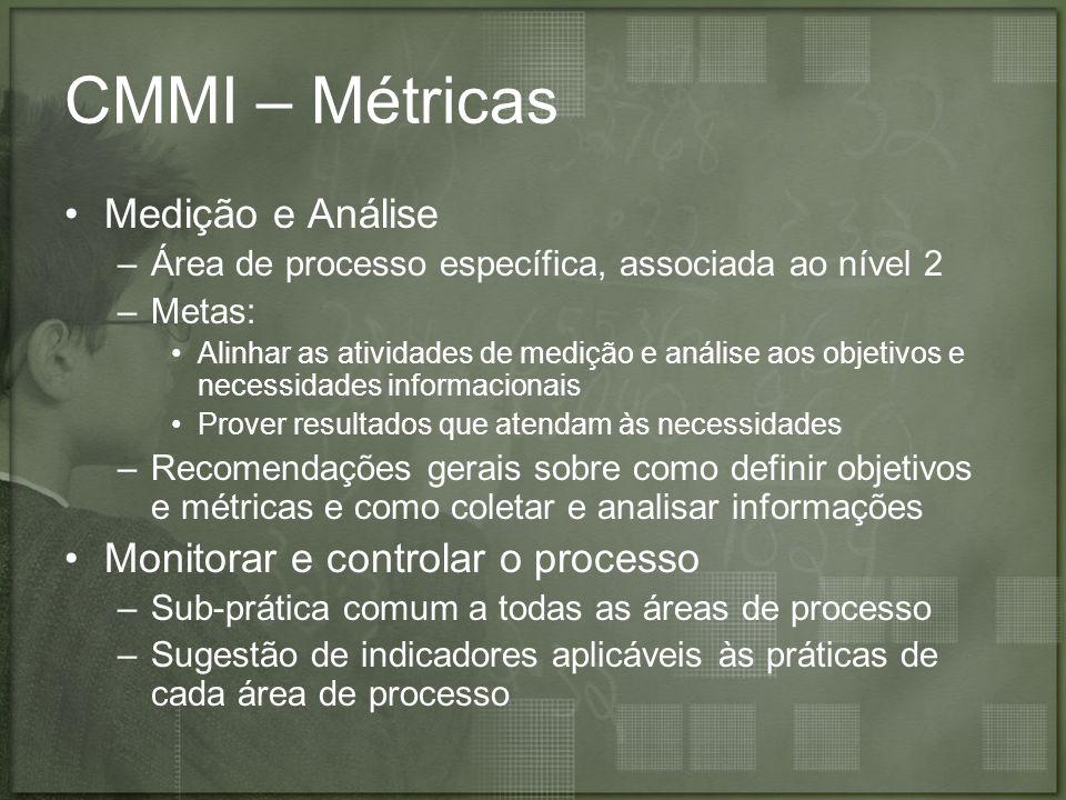 CMMI – Métricas Medição e Análise –Área de processo específica, associada ao nível 2 –Metas: Alinhar as atividades de medição e análise aos objetivos