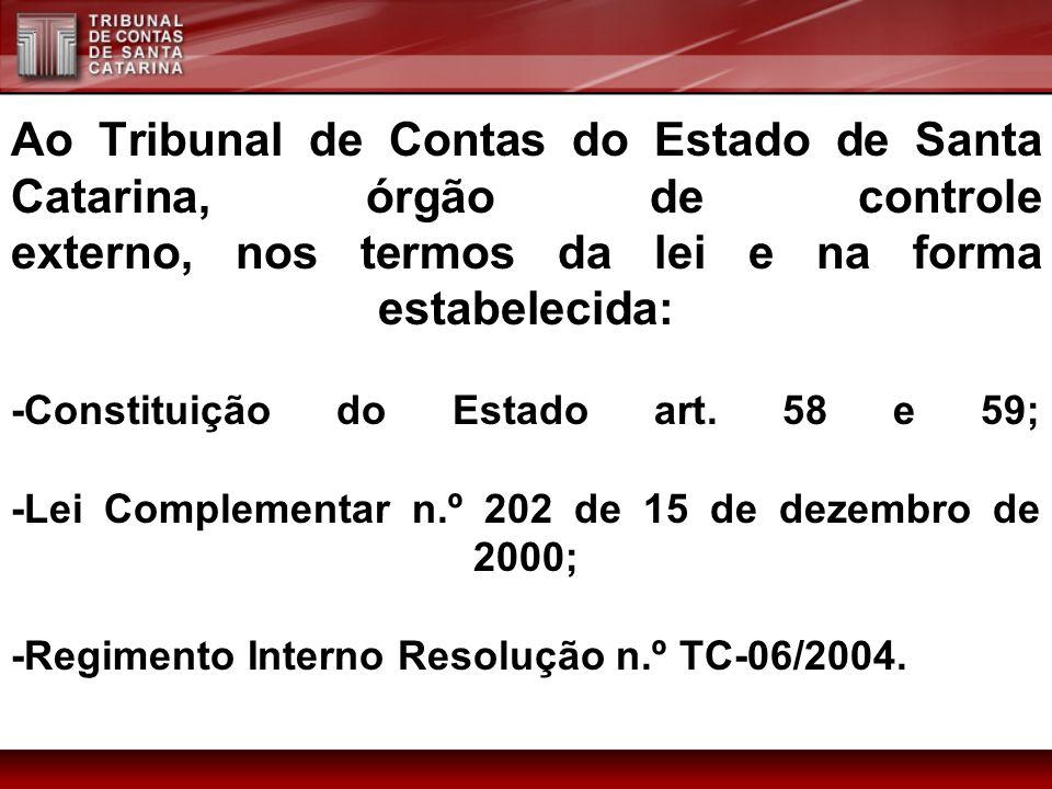 Ao Tribunal de Contas do Estado de Santa Catarina, órgão de controle externo, nos termos da lei e na forma estabelecida: -Constituição do Estado art.
