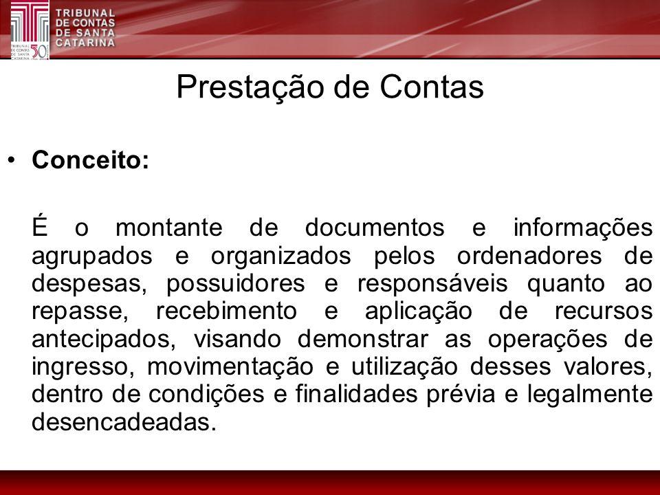 Conceito: É o montante de documentos e informações agrupados e organizados pelos ordenadores de despesas, possuidores e responsáveis quanto ao repasse