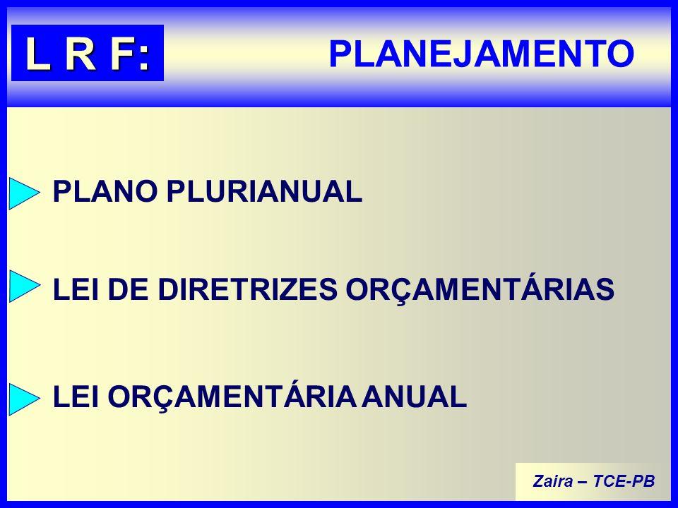 Zaira – TCE-PB PLANEJAMENTO L R F: PLANO PLURIANUAL LEI DE DIRETRIZES ORÇAMENTÁRIAS LEI ORÇAMENTÁRIA ANUAL