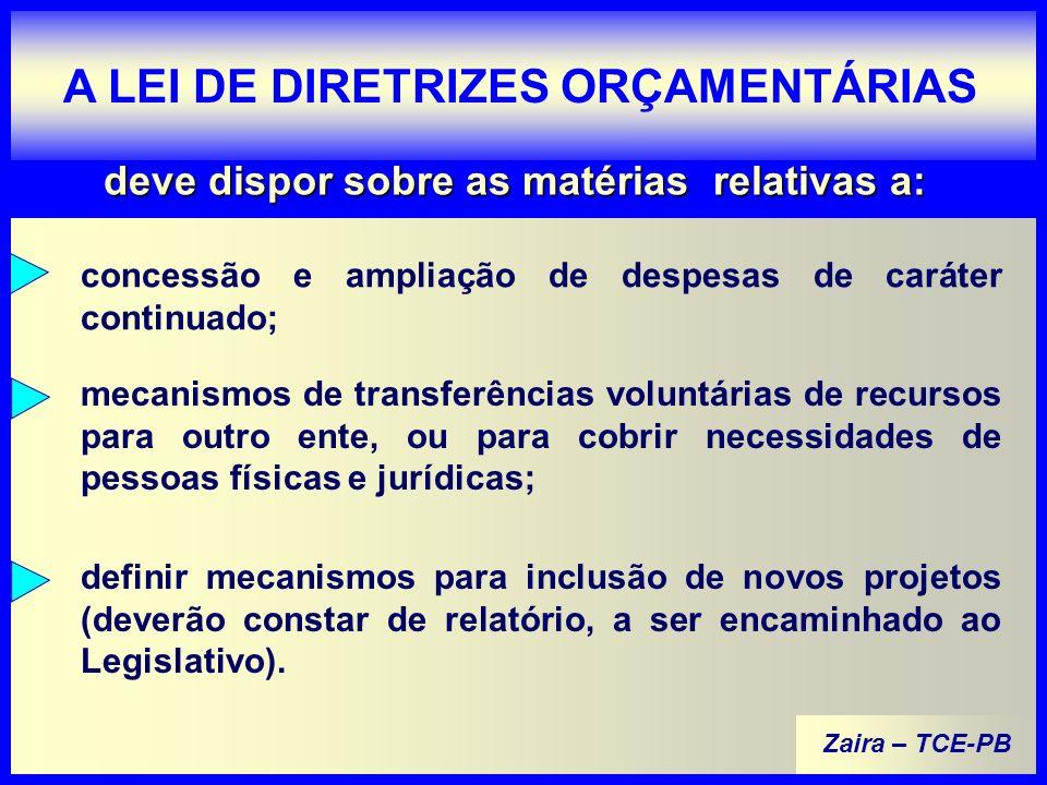 Zaira – TCE-PB A LEI DE DIRETRIZES ORÇAMENTÁRIAS deve dispor sobre as matérias relativas a: definir mecanismos para inclusão de novos projetos (deverão constar de relatório, a ser encaminhado ao Legislativo).