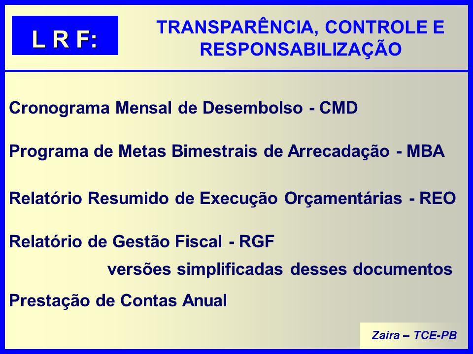 Zaira – TCE-PB TRANSPARÊNCIA, CONTROLE E RESPONSABILIZAÇÃO L R F: Cronograma Mensal de Desembolso - CMD Programa de Metas Bimestrais de Arrecadação - MBA Relatório Resumido de Execução Orçamentárias - REO Relatório de Gestão Fiscal - RGF Prestação de Contas Anual versões simplificadas desses documentos