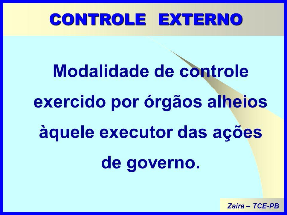 Modalidade de controle exercido por órgãos alheios àquele executor das ações de governo.