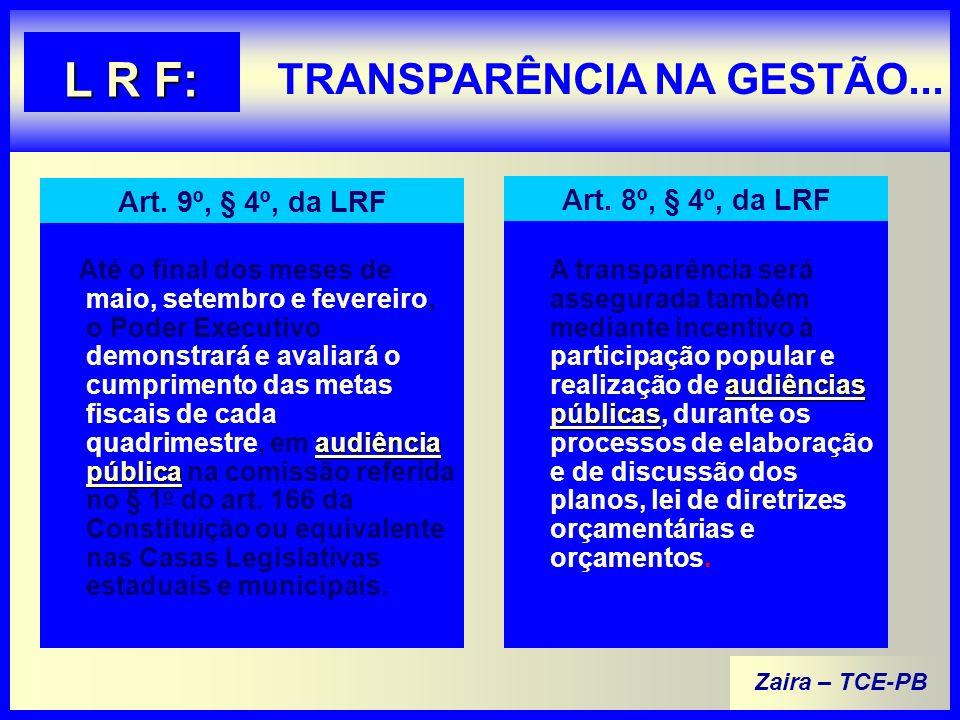 Zaira – TCE-PB TRANSPARÊNCIA NA GESTÃO...