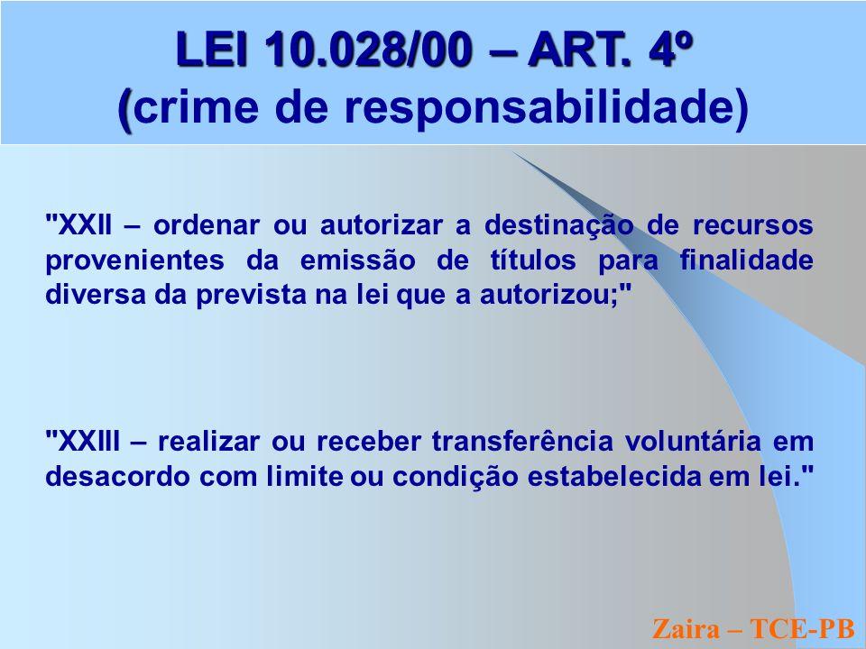 Zaira – TCE-PB LEI 10.028/00 – ART. 4º ( LEI 10.028/00 – ART.