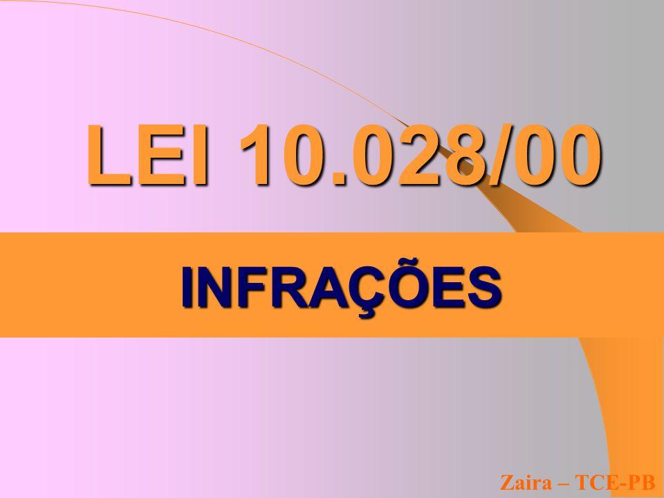 LEI 10.028/00 Zaira – TCE-PB INFRAÇÕES