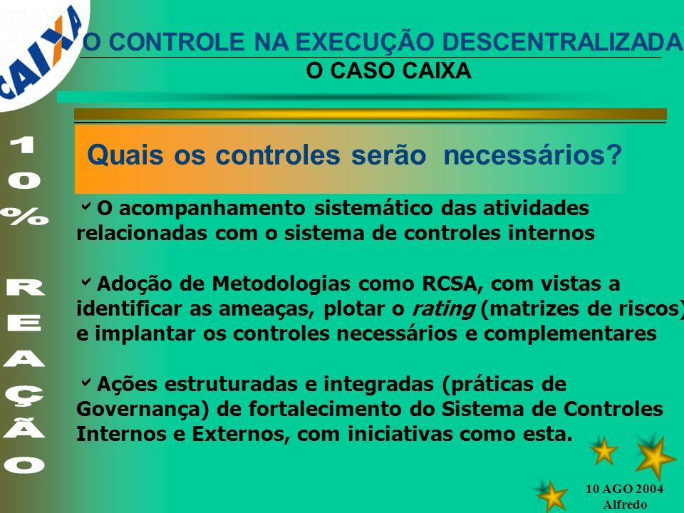 10 AGO 2004 Alfredo Quais os controles serão necessários? O acompanhamento sistemático das atividades relacionadas com o sistema de controles internos