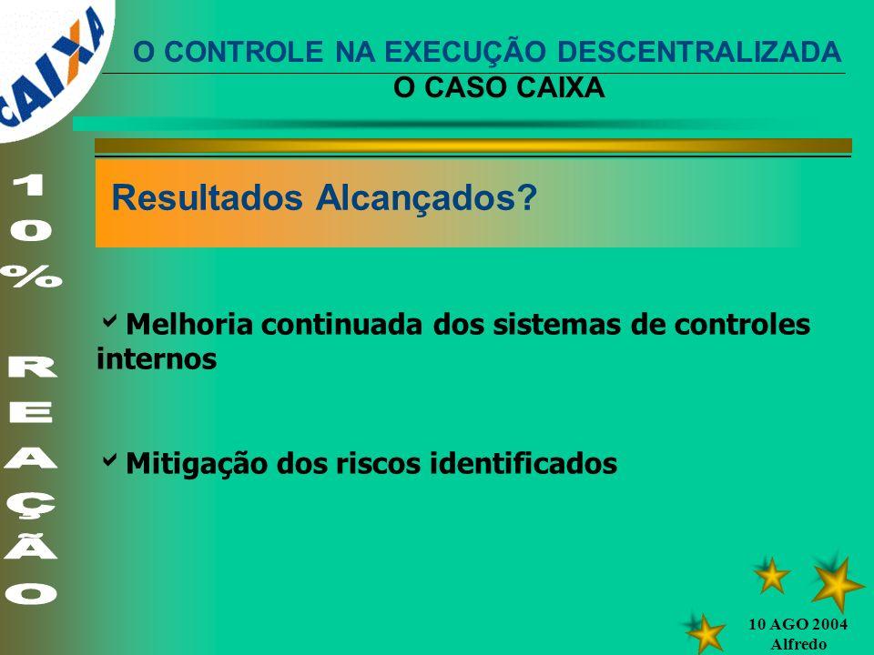 10 AGO 2004 Alfredo Resultados Alcançados? Melhoria continuada dos sistemas de controles internos Mitigação dos riscos identificados O CONTROLE NA EXE