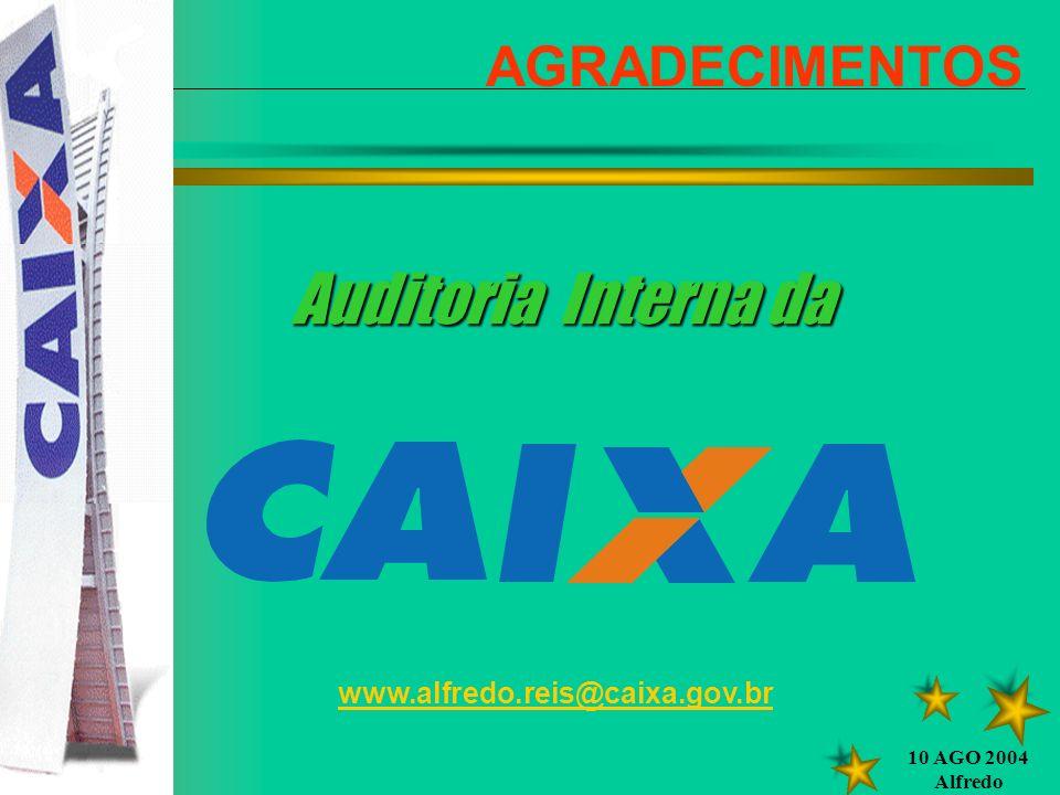 10 AGO 2004 Alfredo AGRADECIMENTOS www.alfredo.reis@caixa.gov.br Auditoria Interna da