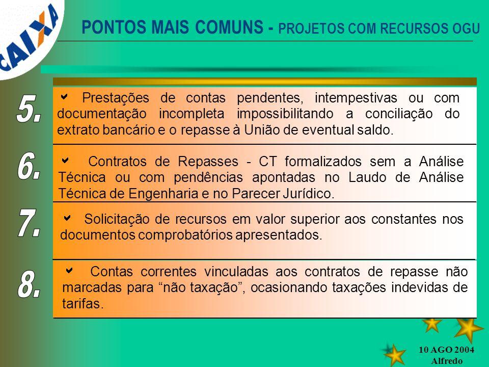 10 AGO 2004 Alfredo PONTOS MAIS COMUNS - PROJETOS COM RECURSOS OGU Prestações de contas pendentes, intempestivas ou com documentação incompleta imposs