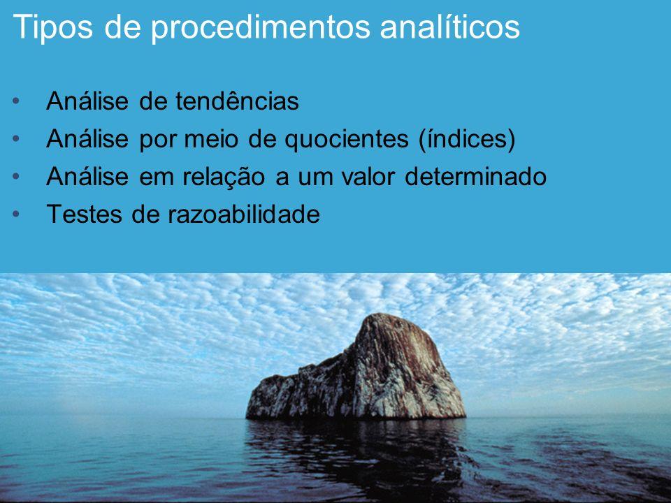 Tipos de procedimentos analíticos Análise de tendências Análise por meio de quocientes (índices) Análise em relação a um valor determinado Testes de r