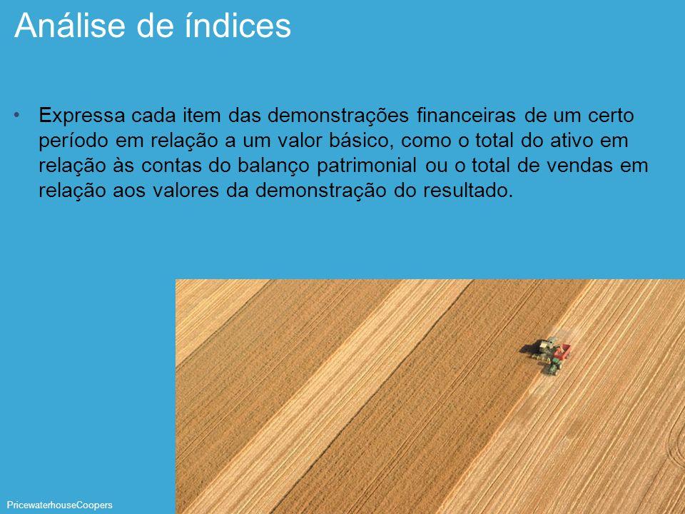 PricewaterhouseCoopers Página 25 Análise de índices Expressa cada item das demonstrações financeiras de um certo período em relação a um valor básico,
