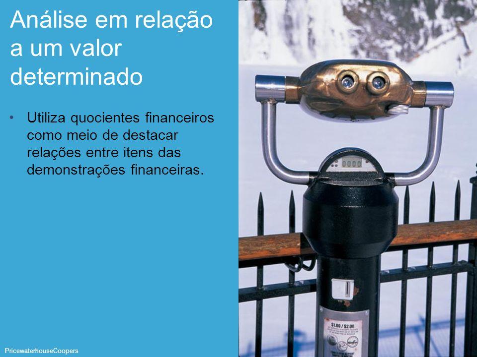 PricewaterhouseCoopers Página 26 Análise em relação a um valor determinado Utiliza quocientes financeiros como meio de destacar relações entre itens d