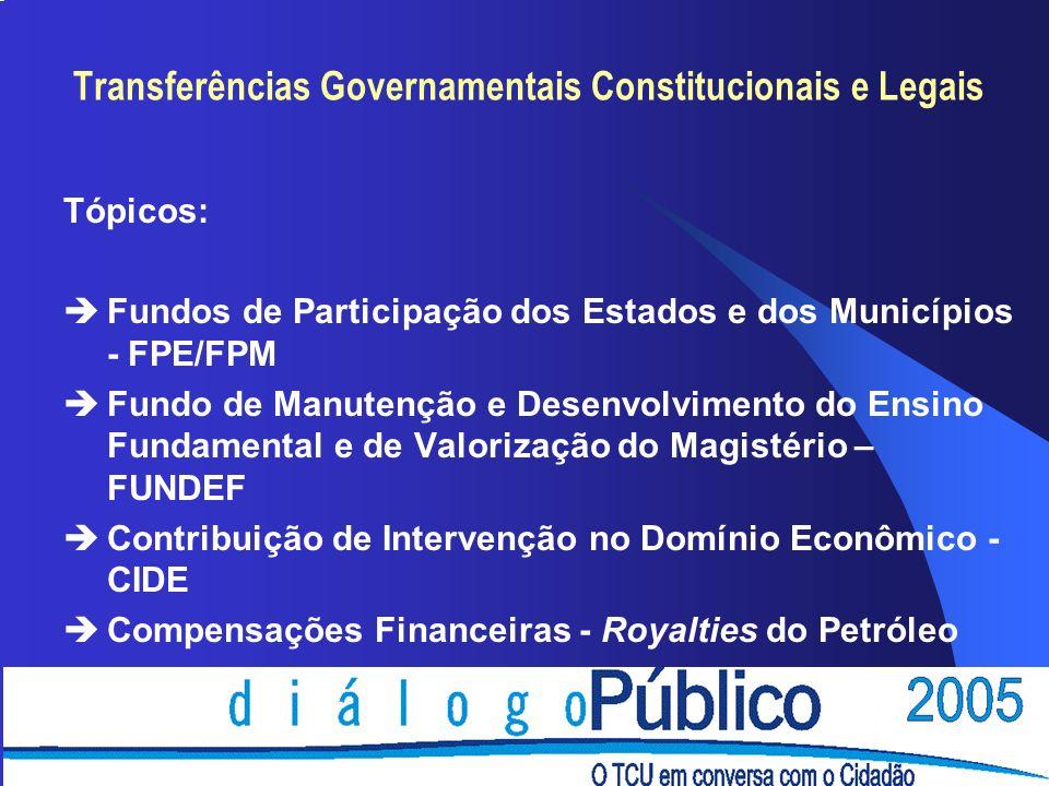 Tópicos: èFundos de Participação dos Estados e dos Municípios - FPE/FPM èFundo de Manutenção e Desenvolvimento do Ensino Fundamental e de Valorização