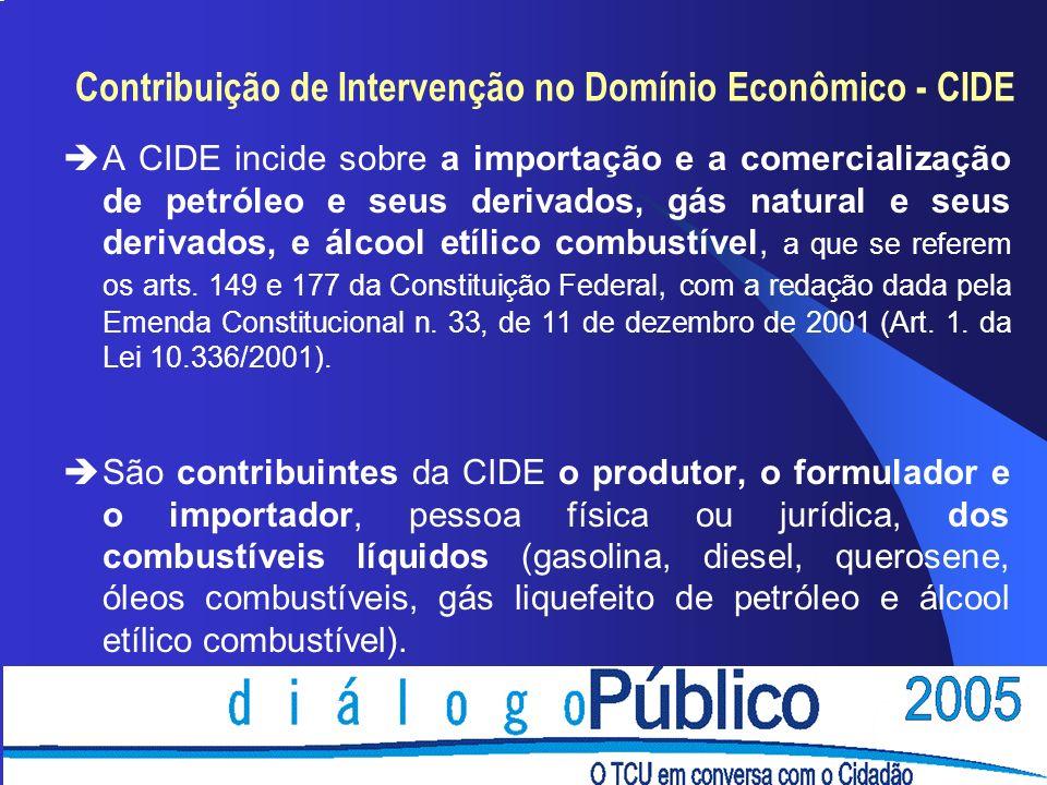 Contribuição de Intervenção no Domínio Econômico - CIDE èA CIDE incide sobre a importação e a comercialização de petróleo e seus derivados, gás natural e seus derivados, e álcool etílico combustível, a que se referem os arts.