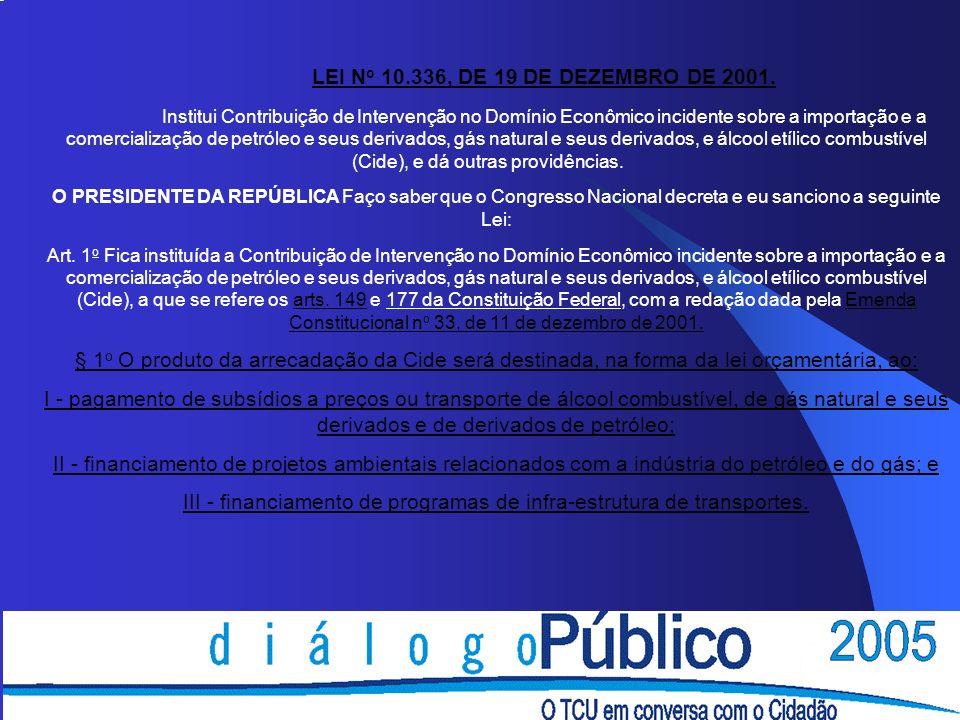 LEI N o 10.336, DE 19 DE DEZEMBRO DE 2001. Institui Contribuição de Intervenção no Domínio Econômico incidente sobre a importação e a comercialização