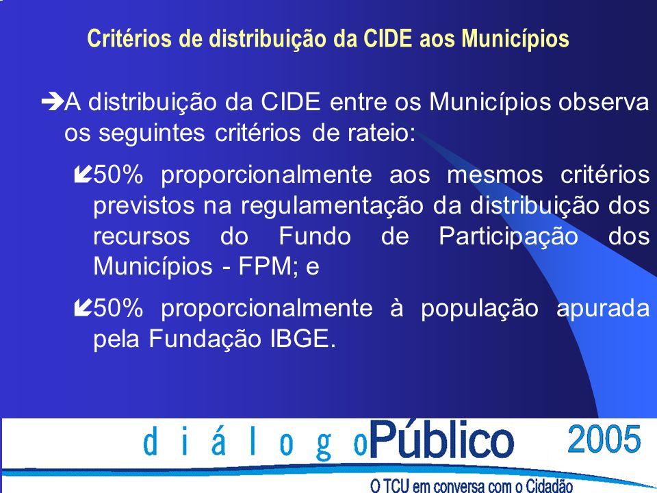 Critérios de distribuição da CIDE aos Municípios èA distribuição da CIDE entre os Municípios observa os seguintes critérios de rateio: í50% proporcionalmente aos mesmos critérios previstos na regulamentação da distribuição dos recursos do Fundo de Participação dos Municípios - FPM; e í50% proporcionalmente à população apurada pela Fundação IBGE.