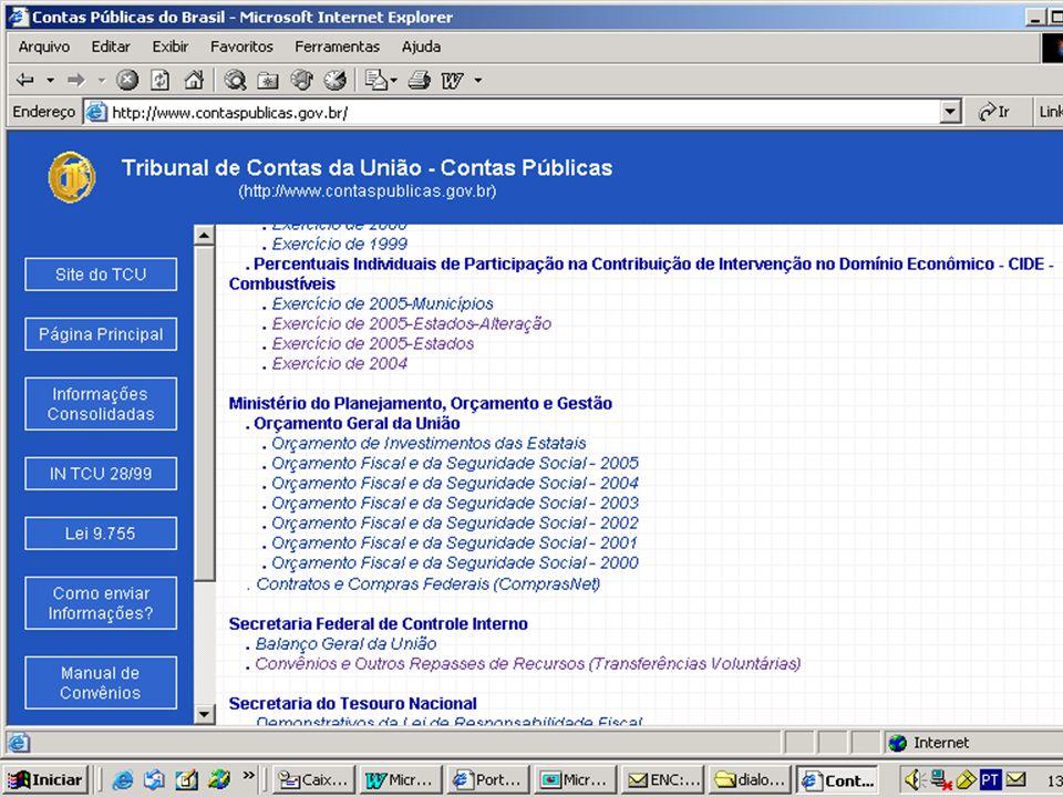 Publicação e Divulgação dos percentuais da CIDE èA Decisão Normativa-TCU 65, de 14/02/2005, alterada pela DN- TCU 66, de 29 de março de 2005, fixou os