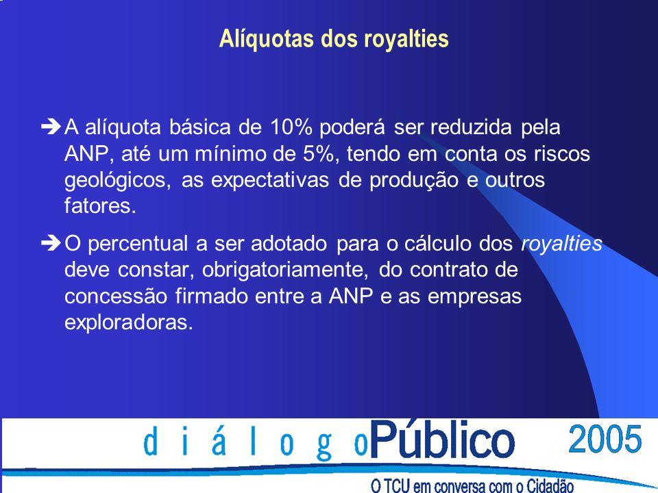 Alíquotas dos royalties èA alíquota básica de 10% poderá ser reduzida pela ANP, até um mínimo de 5%, tendo em conta os riscos geológicos, as expectati