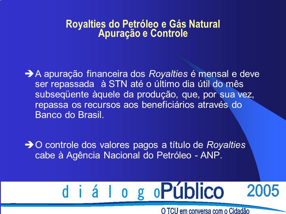 Royalties do Petróleo e Gás Natural Apuração e Controle èA apuração financeira dos Royalties é mensal e deve ser repassada à STN até o último dia útil do mês subseqüente àquele da produção, que, por sua vez, repassa os recursos aos beneficiários através do Banco do Brasil.