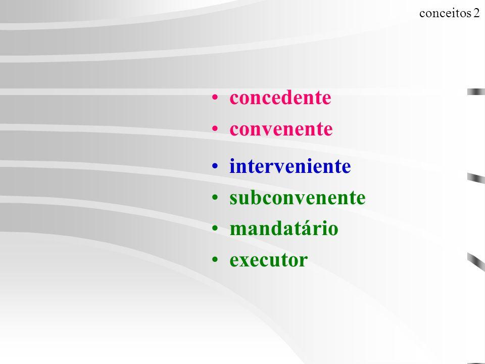 conceitos 2 concedente convenente interveniente subconvenente mandatário executor