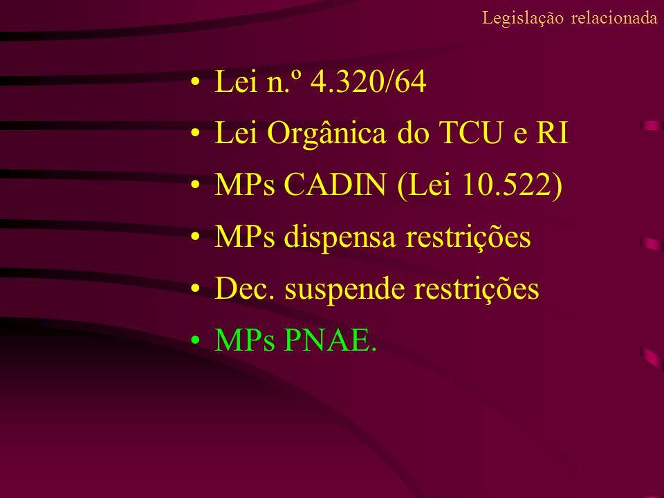 Lei n.º 4.320/64 Lei Orgânica do TCU e RI MPs CADIN (Lei 10.522) MPs dispensa restrições Dec. suspende restrições MPs PNAE. Legislação relacionada