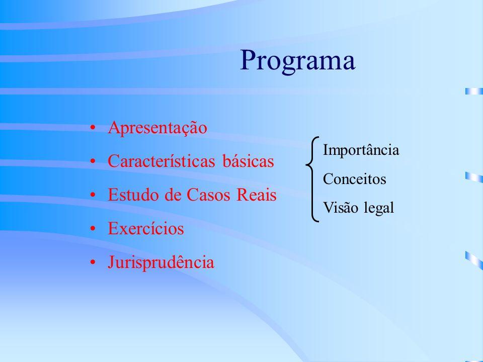 Programa Apresentação Características básicas Estudo de Casos Reais Exercícios Jurisprudência Importância Conceitos Visão legal