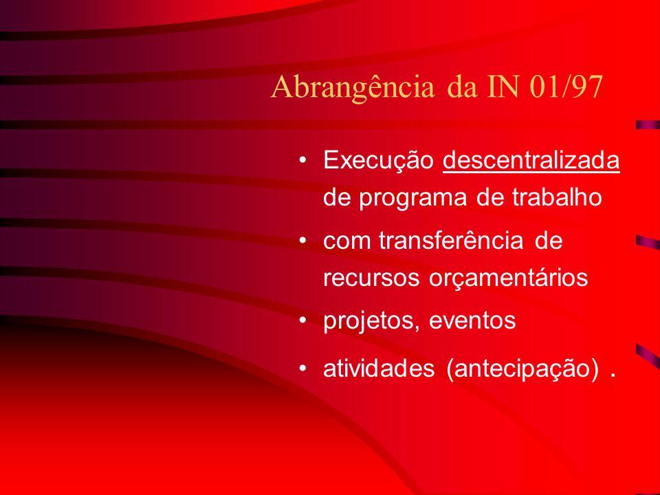 Abrangência da IN 01/97 Execução descentralizada de programa de trabalho com transferência de recursos orçamentários projetos, eventos atividades (antecipação).