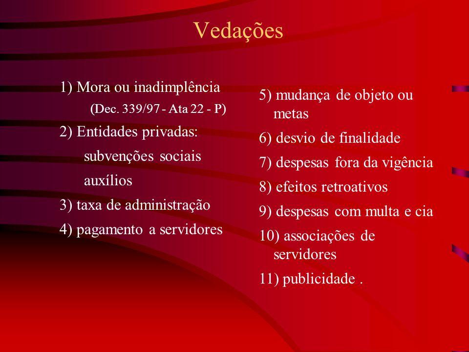 Vedações 1) Mora ou inadimplência (Dec. 339/97 - Ata 22 - P) 2) Entidades privadas: subvenções sociais auxílios 3) taxa de administração 4) pagamento