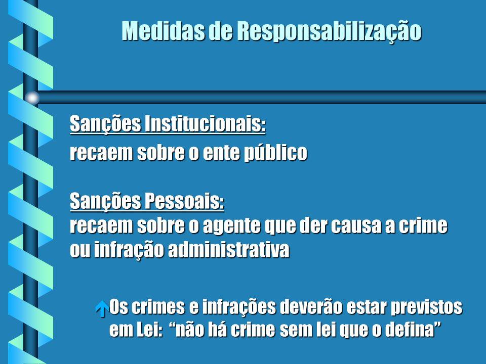 Medidas de Responsabilização Sanções Institucionais: recaem sobre o ente público Sanções Pessoais: recaem sobre o agente que der causa a crime ou infr