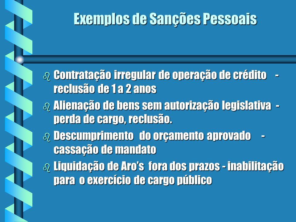 Exemplos de Sanções Pessoais b Contratação irregular de operação de crédito - reclusão de 1 a 2 anos b Alienação de bens sem autorização legislativa - perda de cargo, reclusão.