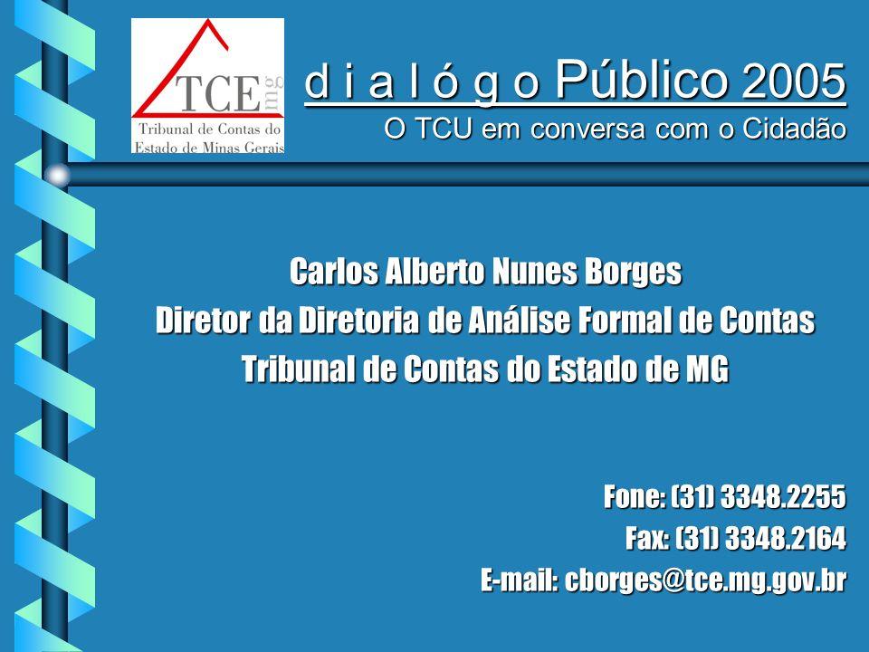 d i a l ó g o Público 2005 O TCU em conversa com o Cidadão Carlos Alberto Nunes Borges Diretor da Diretoria de Análise Formal de Contas Tribunal de Contas do Estado de MG Fone: (31) 3348.2255 Fax: (31) 3348.2164 E-mail: cborges@tce.mg.gov.br