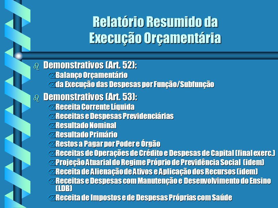 Relatório Resumido da Execução Orçamentária b Demonstrativos (Art.