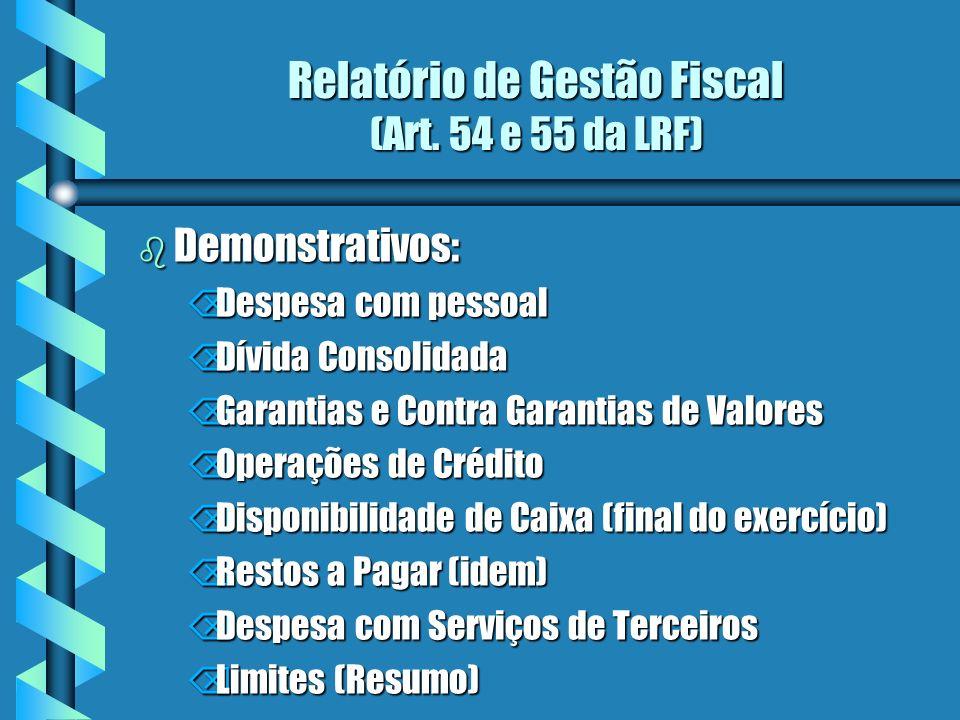 Relatório de Gestão Fiscal (Art. 54 e 55 da LRF) b Demonstrativos: ÕDespesa com pessoal ÕDívida Consolidada ÕGarantias e Contra Garantias de Valores Õ