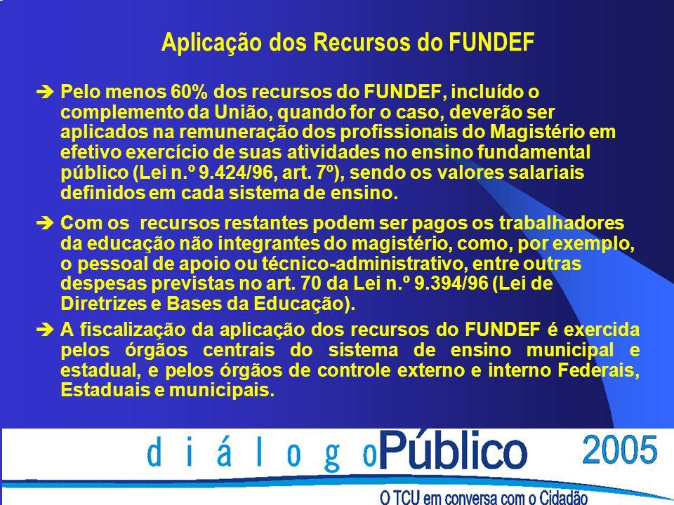 Aplicação dos Recursos do FUNDEF èPelo menos 60% dos recursos do FUNDEF, incluído o complemento da União, quando for o caso, deverão ser aplicados na