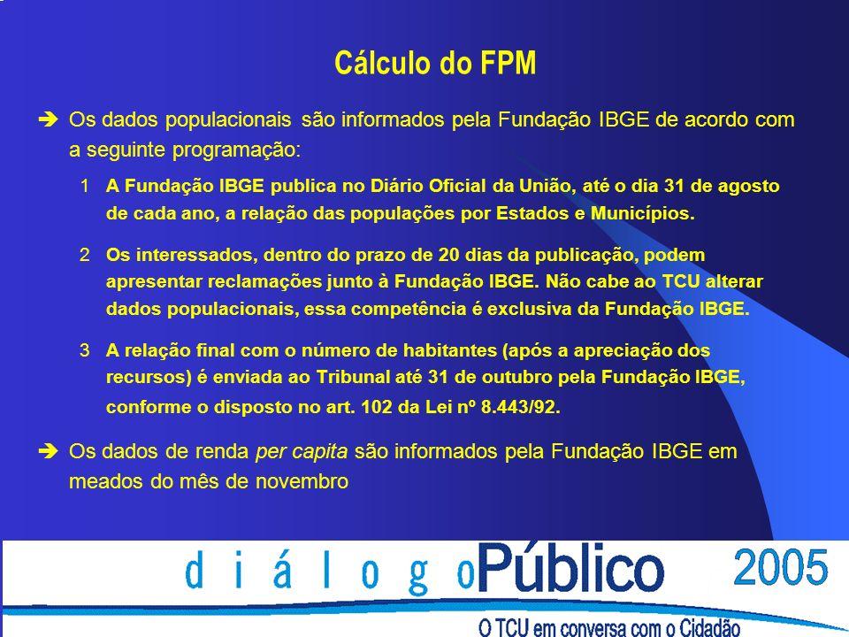 Cálculo do FPM èOs dados populacionais são informados pela Fundação IBGE de acordo com a seguinte programação: 1A Fundação IBGE publica no Diário Oficial da União, até o dia 31 de agosto de cada ano, a relação das populações por Estados e Municípios.