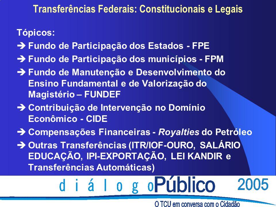 Tópicos: èFundo de Participação dos Estados - FPE èFundo de Participação dos municípios - FPM èFundo de Manutenção e Desenvolvimento do Ensino Fundamental e de Valorização do Magistério – FUNDEF èContribuição de Intervenção no Domínio Econômico - CIDE èCompensações Financeiras - Royalties do Petróleo èOutras Transferências (ITR/IOF-OURO, SALÁRIO EDUCAÇÃO, IPI-EXPORTAÇÃO, LEI KANDIR e Transferências Automáticas)