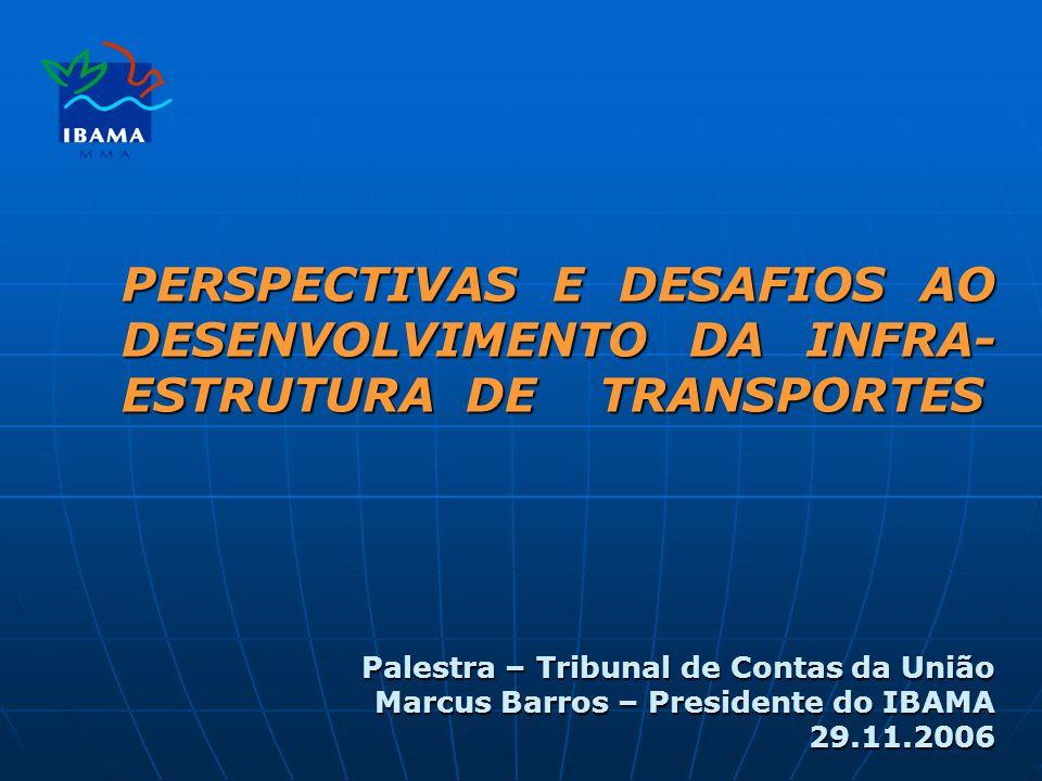 PERSPECTIVAS E DESAFIOS AO DESENVOLVIMENTO DA INFRA- ESTRUTURA DE TRANSPORTES Palestra – Tribunal de Contas da União Marcus Barros – Presidente do IBAMA 29.11.2006