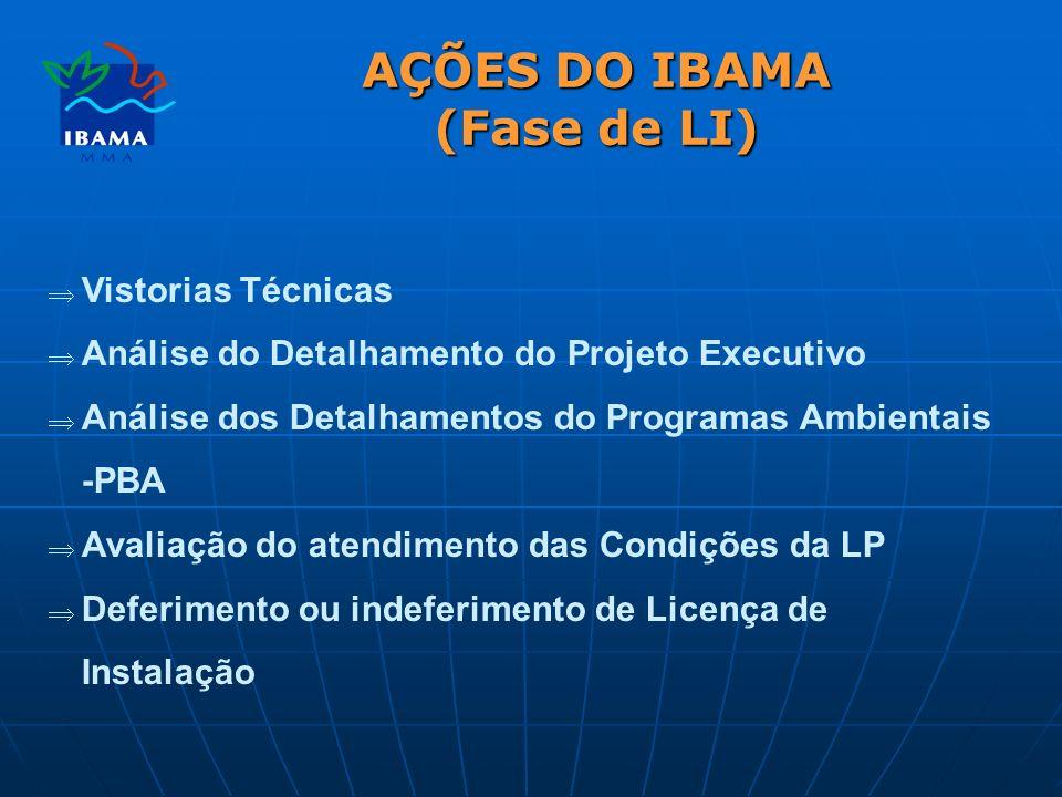 AÇÕES DO IBAMA (Fase de LI) Vistorias Técnicas Análise do Detalhamento do Projeto Executivo Análise dos Detalhamentos do Programas Ambientais -PBA Avaliação do atendimento das Condições da LP Deferimento ou indeferimento de Licença de Instalação