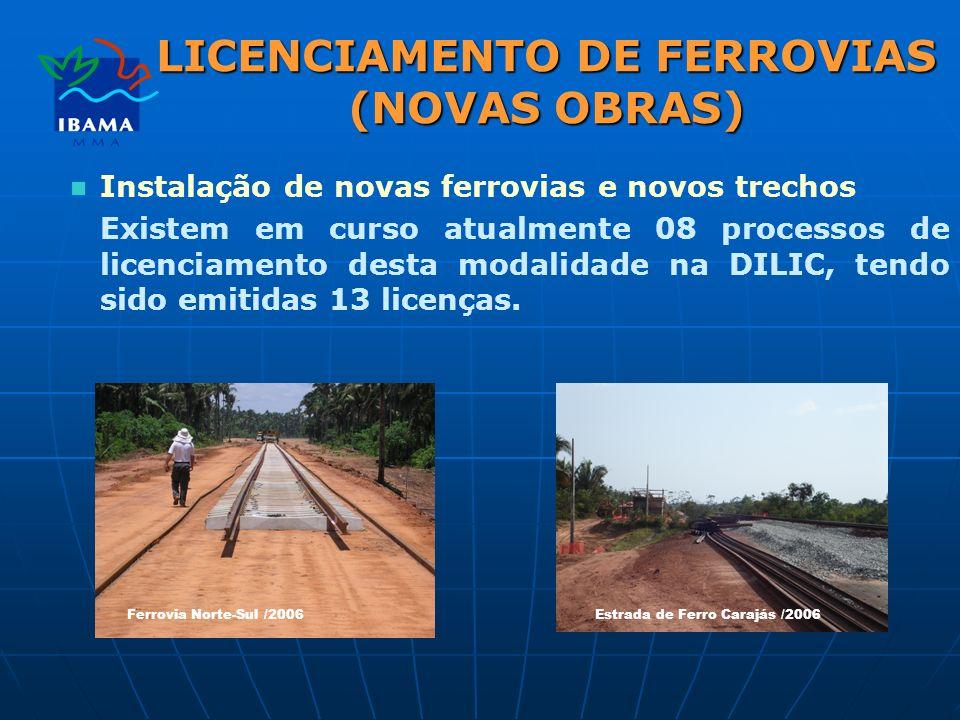 LICENCIAMENTO DE FERROVIAS (NOVAS OBRAS) Instalação de novas ferrovias e novos trechos Existem em curso atualmente 08 processos de licenciamento desta modalidade na DILIC, tendo sido emitidas 13 licenças.