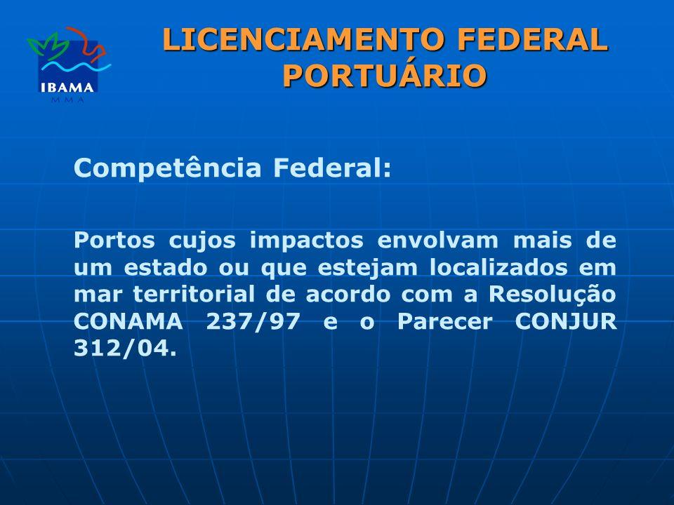 LICENCIAMENTO FEDERAL PORTUÁRIO Competência Federal: Portos cujos impactos envolvam mais de um estado ou que estejam localizados em mar territorial de acordo com a Resolução CONAMA 237/97 e o Parecer CONJUR 312/04.