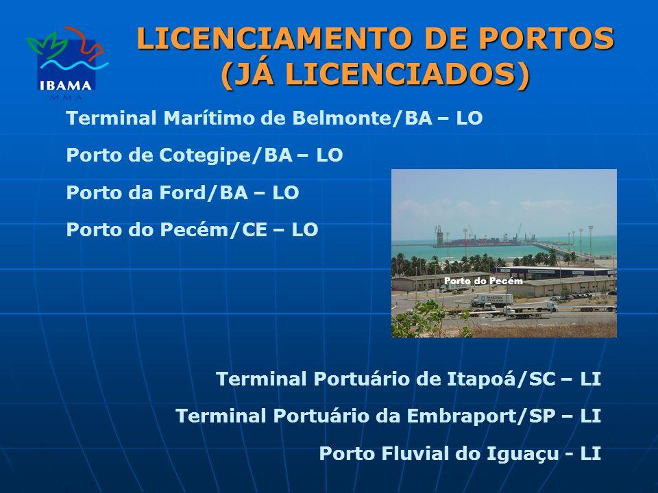 Terminal Marítimo de Belmonte/BA – LO Porto de Cotegipe/BA – LO Porto da Ford/BA – LO Porto do Pecém/CE – LO Terminal Portuário de Itapoá/SC – LI Terminal Portuário da Embraport/SP – LI Porto Fluvial do Iguaçu - LI LICENCIAMENTO DE PORTOS (JÁ LICENCIADOS) Porto do Pecém